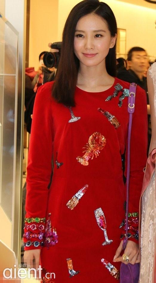 刘诗诗红裙现身 明媚动人气质优雅